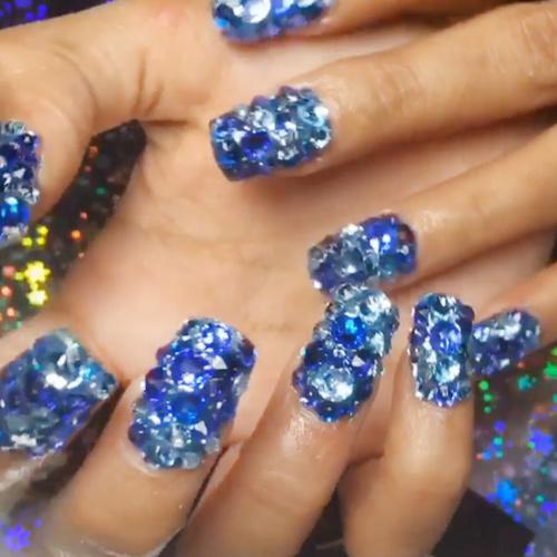 Cardi B Nails: Cardi B Blue Jewels, Nail Art Nails
