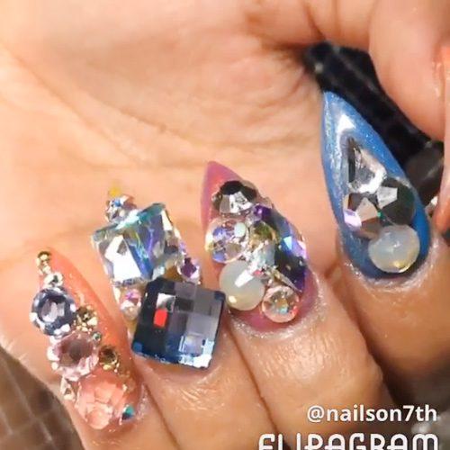 Cardi B Nails: Cardi B Blue, Coral, Pink, Yellow Jewels, Nail Art, Stones