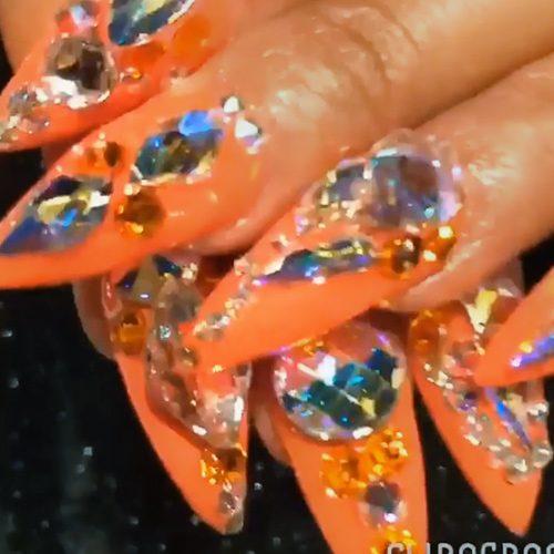Cardi B Nail Art: Cardi B Orange Jewels, Nail Art, Stones Nails