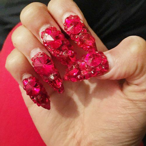 Cardi B Nail Art: Cardi B Red Jewels, Nail Art Nails