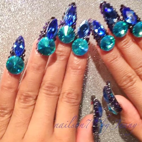 Cardi B Navy Blue Jewels Nail Art Nails Steal Her Style