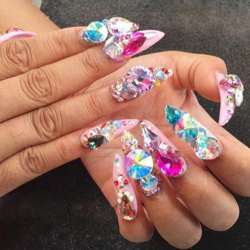 Cardi Pink Jewels Nail Art Stones Studs Nails Steal