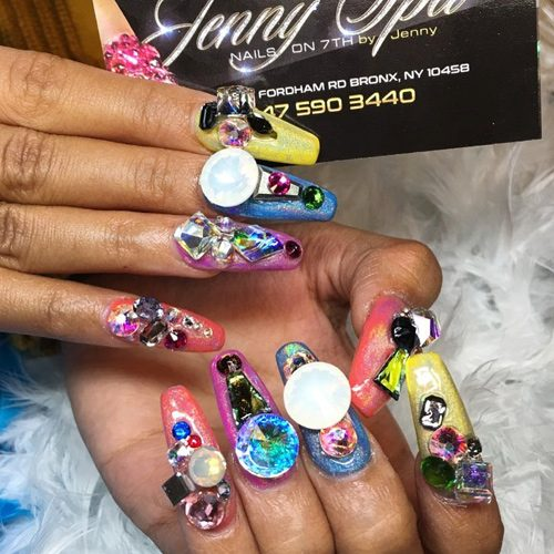 Cardi B S Nail Artist: Cardi B Blue, Coral, Purple, Yellow Jewels, Nail Art