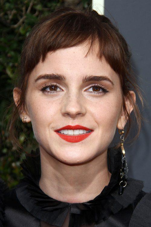 Emma Watson Straight Medium Brown Baby Bangs Choppy Bangs