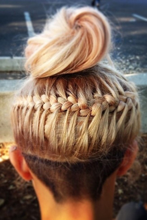Hayley Kiyoko Straight Braid Bun Undercut Hairstyle
