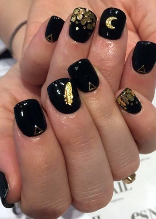 Lucy Hale Black Gold Moon Nail Art Sequins Triangles