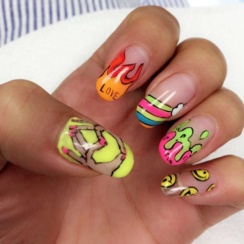 Nail Art Designs Flames