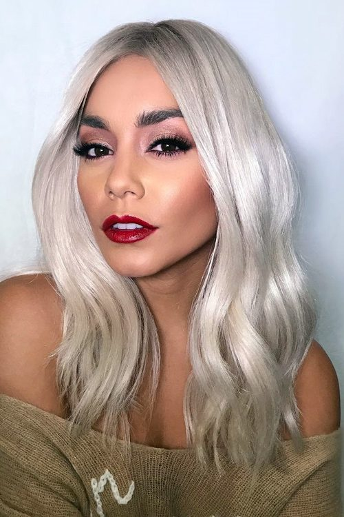 Vanessa Hudgens Wavy Silver Loose Waves Hairstyle Steal