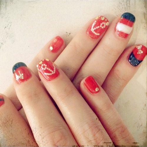 Zooey Deschanel Navy Blue, Red, White Anchor, Nail Art, Stripes ...