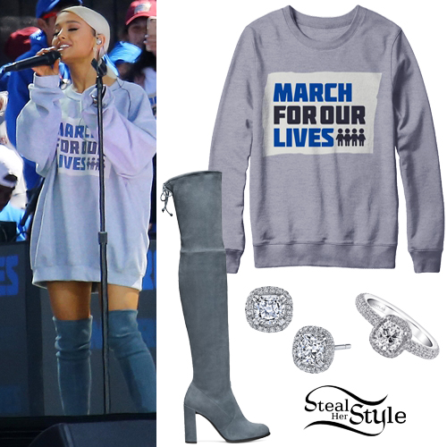 Ariana Grande 'March Four Our Lives Outfit Steal Her Style Ariana Grande Stuart Weitzman Boots Shoes
