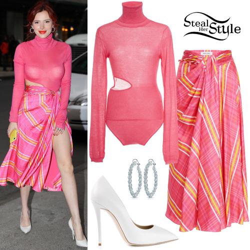 134ed075ba Bella Thorne  Pink Bodysuit