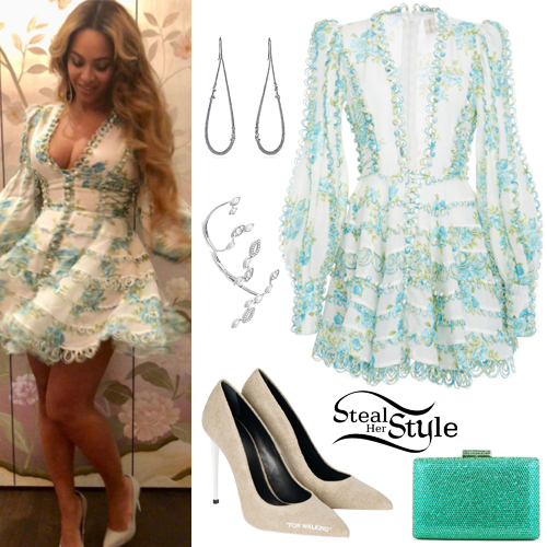 Beyonc Floral Dress Canvas Pumps Steal Her Style