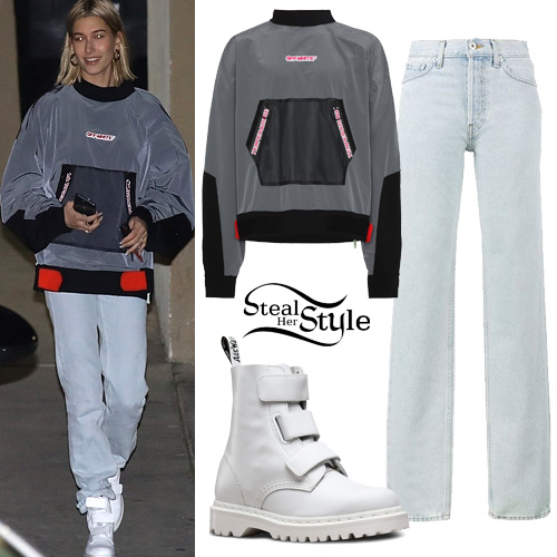 Hailey Baldwin: Off White Sweater, Bleach Jeans | Steal Her