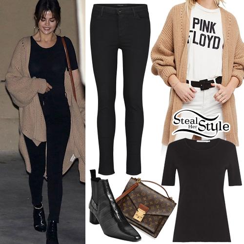 Selena Gomez Beige Cardigan Black Tee Jeans Steal Her Style