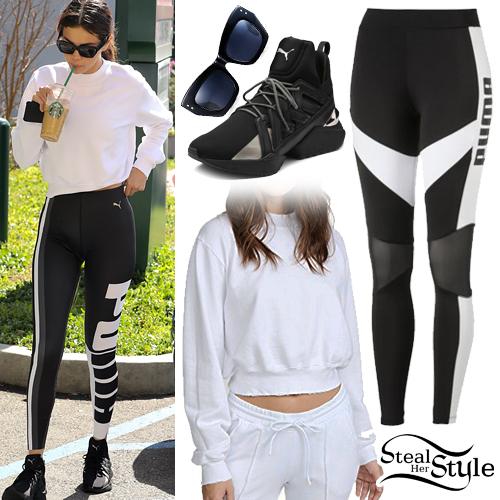 Selena Gomez: White Sweatshirt, PUMA Leggings | Steal Her Style