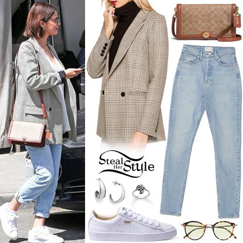 Selena Gomez Checked Blazer Blue Jeans