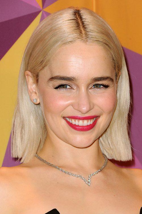 Emilia Clarke Straight Platinum Blonde Blunt Cut Dark