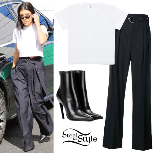 Kourtney Kardashian: White T-Shirt, Wide-Leg Pants