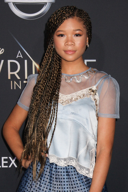 Storm Reid Curly Dark Brown Afro All Over Highlights