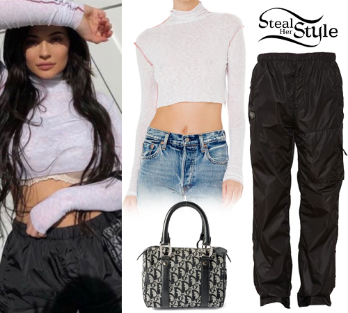 Kylie Jenner White Crop Top, Nylon Pants