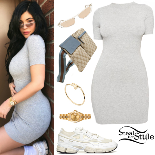 7d5a741e3e5 Kylie Jenner  Grey Mini Dress