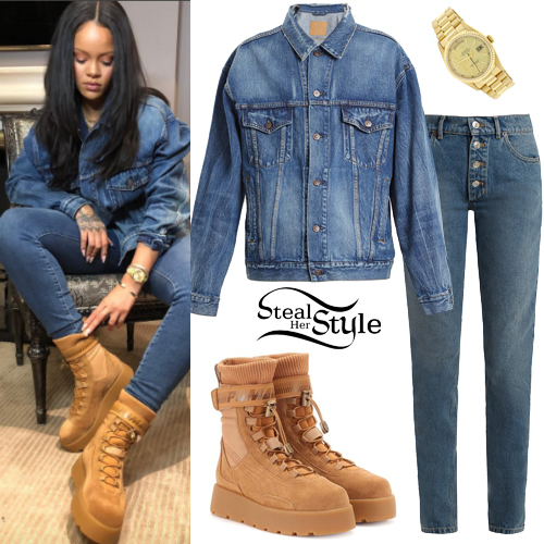 04bf4e331 Rihanna: Denim Jacket, Skinny Jeans | Steal Her Style
