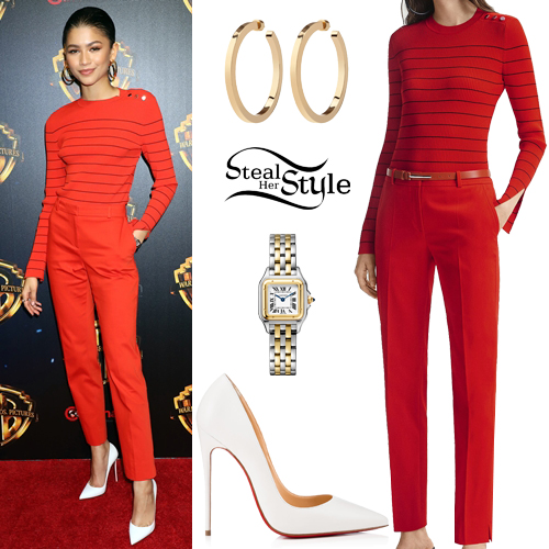 Zendaya Puffy Sleeves Red Dress