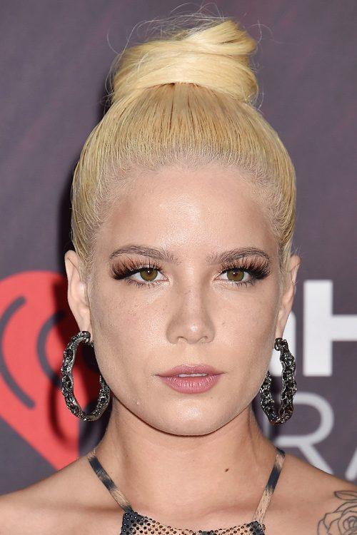 Halsey Straight Golden Blonde Bun Hairstyle Steal Her Style