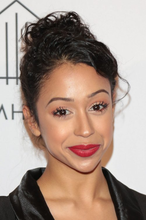 Liza Koshy Curly Dark Brown Updo Hairstyle Steal Her Style