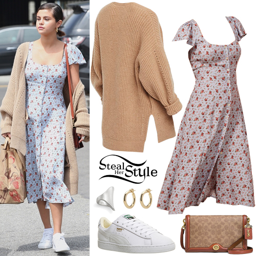 c70346759f Selena Gomez: Floral Dress, Cashmere Cardigan | Steal Her Style