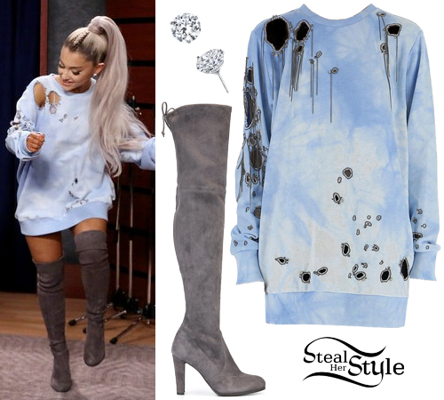 Ariana Grande Blue Distressed Top, Suede Boots