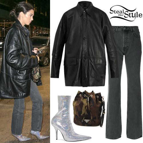 Kendall Jenner Leather Jacket Sequined Boots Steal Her Style