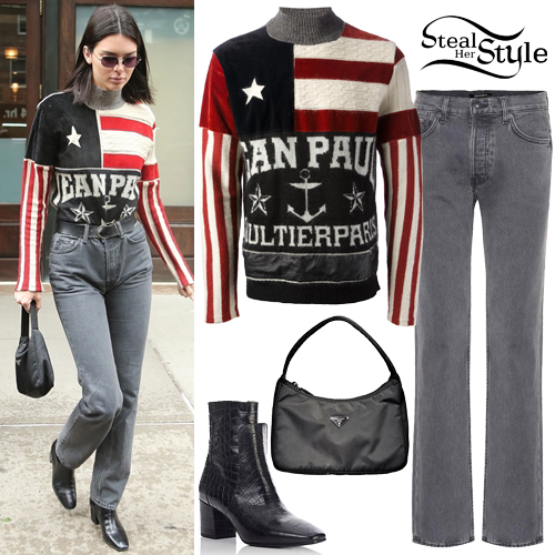 12c283339391e2 Kendall Jenner: Flag Sweater, Grey Straight Jeans | Steal Her Style