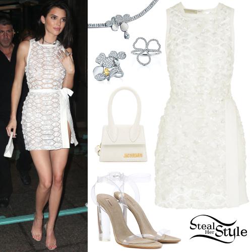 Kendall Jenner Short Dress: Kendall Jenner: White Dress, Transparent Sandals