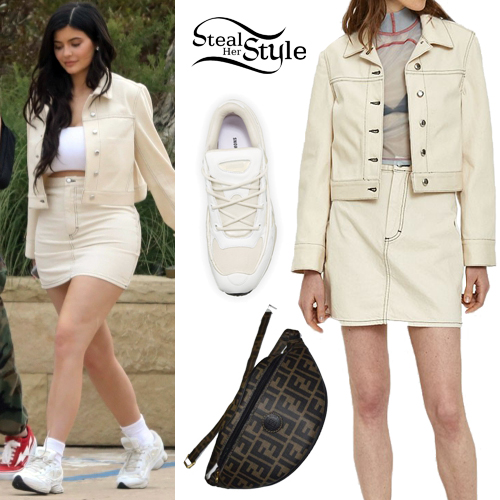 473258a2f5ad Kylie Jenner  Natural Denim Jacket and Mini Skirt
