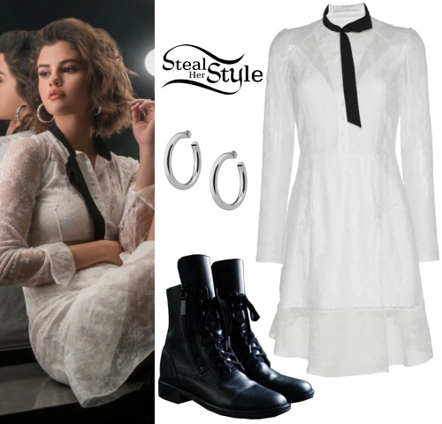 Selena Gomez: White Lace Dress, Black