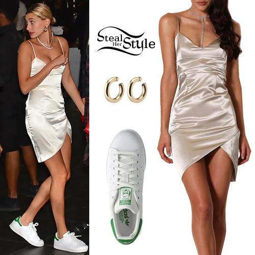 Hailey Baldwin: Satin Mini Dress, White