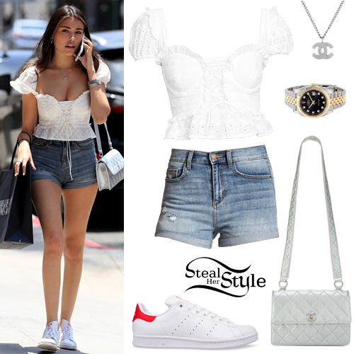 Madison Beer  White Lace-Up Top 13ba29c98