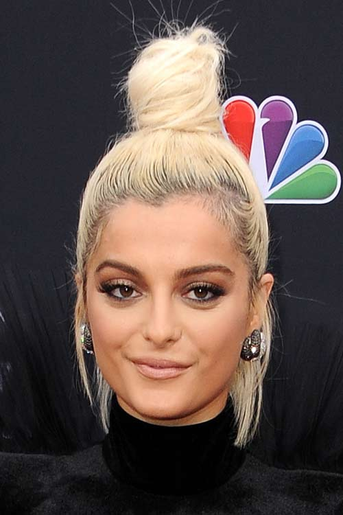 Bebe Rexha Straight Platinum Blonde Bun Dark Roots