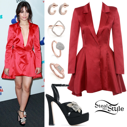 dd7f48694760 Camila Cabello: Red Blazer Dress, Platform Sandals