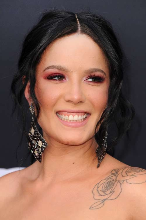 Halsey Wavy Black Face Framing Pieces Updo Hairstyle