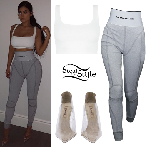73ef2a9e96f79 Kylie Jenner: White Crop Top, Grey Leggings | Steal Her Style