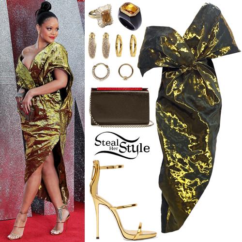 Rihanna: Metallic Dress, Gold Sandals