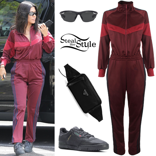 d00061f4a Kourtney Kardashian  Track Jumpsuit
