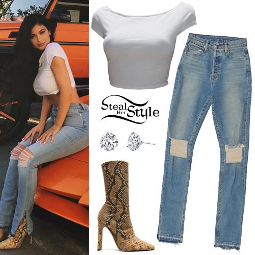 59636f48cdf9c Kylie Jenner  White Crop Top