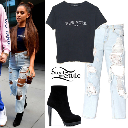 Ariana Grande u0026#39;New Yorku0026#39; Tee Ripped Jeans | Steal Her Style
