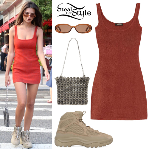 0180c2a78e27a Emily Ratajkowski: Red Knit Dress, Suede Boots | Steal Her Style