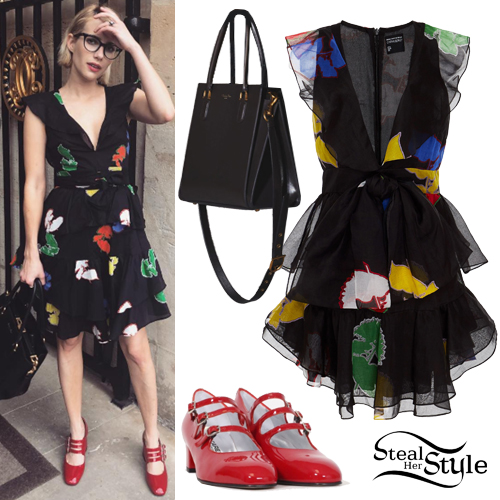 Emma Roberts Black Floral Dress Red Shoes Steal Her Style