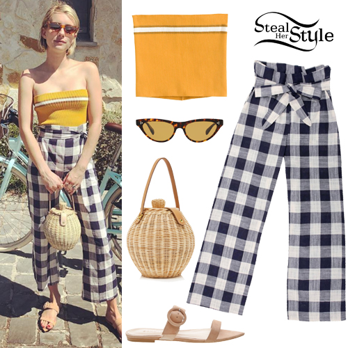 Emma Roberts Yellow Tube Top Gingham Pants Steal Her Style