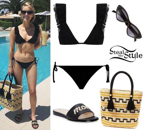 Emma Roberts Black Bikini Mon Amour Sandals Steal Her Style